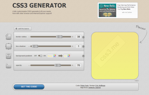 角丸・グラデーション・影・透過を表現するCSS3コードを自動生成してくれるジェネレータ「CSS3 Generator」