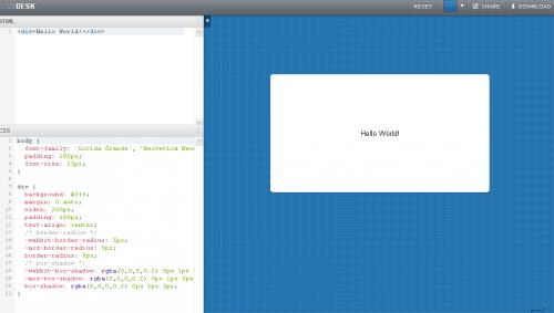 HTMLとCSSをリアルタイムにプレビュー確認できるWebサービス「CSSDesk」