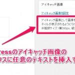 WordPressのアイキャッチ画像のメタボックスに任意のテキストを挿入する方法