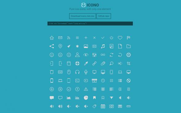 CSSのみで作られたシンプルなアイコンセットを公開している「icono」